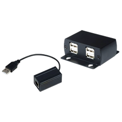 USB 2.0 Fast CAT5 Extender with 4 Port USB Hub