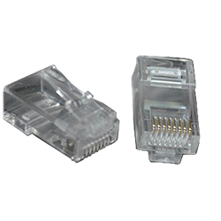 RJ45 Connector with Wires running out. Cat6