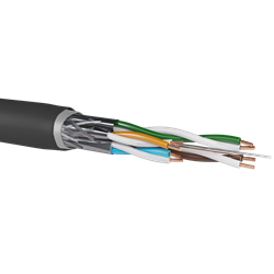 S/FTP Cat7 NYY 0.56Cu 4x2x23AWG, 40% Al-Braiding, PVC+PE Double Jacket, 500m/Drum